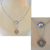 Compass Necklace Pendant Silver Mermaid Scales Jewelry Chain Fashion Women
