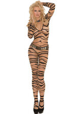 Brun zébré body stocking party dancer stripper lingerie taille uk 10-12