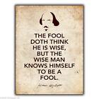 Letrero de metal Placa pared Shakespeare As You Like en el tonto Citar Afiche