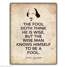 METALLSCHILD WANDTAFEL SHAKESPEARE Wie Sie wie Es The Fool Spruch plakat wand