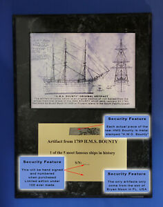 HMS Bounty 200 yr Old Piece of the Real Ship with COA, historical naval artifact