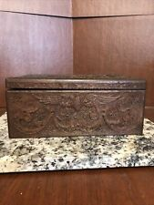 EXCEPTIONAL VINTAGE ANTIQUE 1924 FOLK ART HAND CARVED WOODEN BOX LOS ANGLES