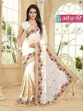 Indian Bollywood White Color Georgette Paty Wear Designer Embroidered Saree Sari