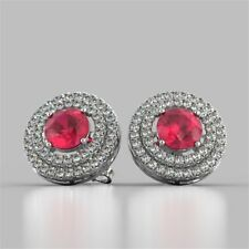 Pave 3.25 Carats Natural Diamonds Ruby Halo Stud Earrings In Fine 14K White Gold
