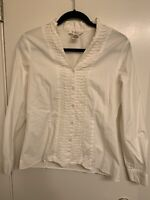 Katherine New York White fitted Blouse Button Front V Neck Sz S Career Work