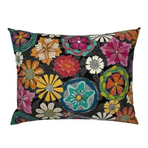 Love Black Blue Yellow Flowers Red Floral Retro Pillow Sham by Spoonflower