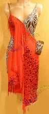 Women Ballroom Latin Rumba Salsa Cha Dance Dress US 6 UK 8 Flesh Red Sliver