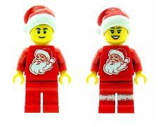 Custom Minifigure Natale Ragazzo & Ragazza con Babbo Natale sul torso stampato su parti Lego