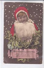 EW SAVORY CLIFTON BROMOGRAVURE POSTCARD KIND THOUGHTS FOR CHRISTMAS. SANTA CLAUS