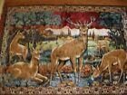 """VINTAGE HAND LOOMED LEBANESE WALL HANGING TAPESTRY """"DEER FAMILY IN THE WOODS"""""""