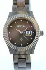 Bewell Reloj de Madera Mujer Fecha 37mm Chokolate-Sandelholz Producto a Nuevo