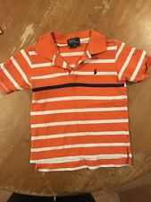 POLO by ralph lauren BOYS ORANGE STRIPED SHORT SLEEVE COLLARED SHIRT SIZE 4T