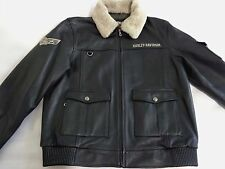 Harley Davidson Men's  Squadron  Military  Bomber  Leather  Jacket. US XL.