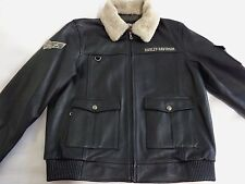Harley Davidson Men's  Squadron  Military  Bomber  Leather  Jacket. US XL.