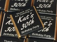 30 x Personalised Mint Chocolate Neapolitan Favour Birthday Black & Gold