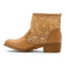 NEW Musse & Cloud Ainhoa Women Tan Leather/Crochet Ankle Boots, Size 7, $120