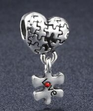 Love Heart Jigsaw Missing Piece Cz Pendant Charm For Bracelets Silver Plated