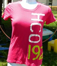 HOLLISTER CALIFORNIA XS PINK SHIRT CAP SLEEVE WHITE HCO & LIME GREEN 1922 FRONT