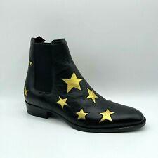 Saint Laurent Wyatt Men's Black Leather Gold Star Zip Up Ankle Boot 579404 1087