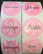50 Pink Ribbon Breast Cancer Awareness Stickers Cure Hope Survivor courage