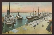 Egypt ALEXANDRIA The Port Ships and busy quay vintage PPC