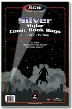 Silver Mylar Comic Book Bags 2 mil 50 BCW Archival Polyester Semi Rigid Holder