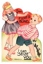 "KIDS PLAY HIDE AND SEEK GAME  ""I CAN SEIZE YOU"" / VINTAGE UNUSED VALENTINE CARD"