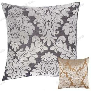 Damask Flocked Velvet 18 inch Piped Cushion Covers Silver & Grey or Gold & Beige