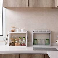 2 Tiers Kitchen Bathroom Spice Jar Storage Rack Shelf Holder Stand Organizer