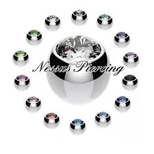 Spare balls with gems belly/nipple/tragus/labret/tongue/ear piercing 1.2mm 1.6mm