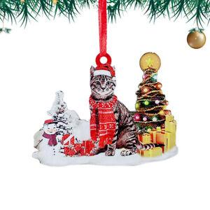2021 Christmas Ornaments Cat Wood Pendant Hanging Christmas Decoration Gift