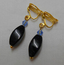 Unique handmade blue goldstone clip on earrings gold plated twisted shape lovely