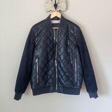 $225 Calvin Klein Navy Suede & Leather Bomber NWOT Medium
