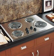 Electric Stove Top High Powered 4 Four Burners Cooktop Range Stainless Steel