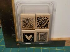 STAMPIN UP LETTERS OF LOVE SET 4 WOOD MOUNTED RUBBER STAMPS EUC A13816
