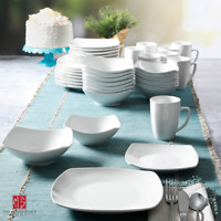 40-Piece Dinnerware Set White Ceramic Kitchen Dish Square Dinner Plates Mugs New