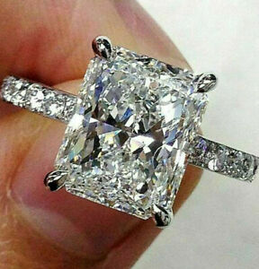 3.62ct Radiant Cut Solitaire Band Diamond Engagement Ring 14K Solid White Gold