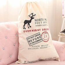 Christmas Santa Claus Sack Stocking Bag Hessian XMAS Children Gifts