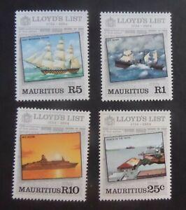 Mauritius 1984 250th Ann Lloyds List sailing ship SG682/5 MNH UM unmounted mint