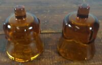 Votive Cups Set of 2 Homco Home Interior Amber Brown Glass Tulip Design