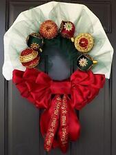 Red Bow White Burlap Christmas Wreath- Christmas Treasure