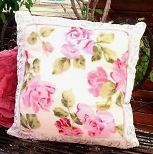 Shabby French Country Vintage Look Chiffon Pink Rose Euro Sham Bed Pillow Cover