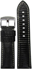 22mm XL Panatime Black Genuine Lizard Watch Band w/ White Stitching 22/20 125/85