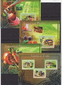 GUINEE 2007 INSECTES ET FRUITS INSECTS BUGS LITCHI GRENADE MANTODEA FLORA MNH**