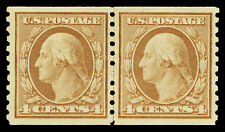 Scott 495 1917 4c Washington Coil Issue Mint Joint Line Pair VF OG HR Cat $75