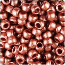 500 Red Gold Pearl 9x6mm Barrel Pony Beads Made in the USA