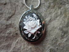 STAINLESS STEEL WHITE ROSE ON BLACK CAMEO URN NECKLACE - MOURNING, ASHES, HAIR