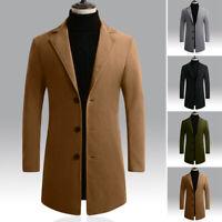 Mens Formal Business Coat Long Sleeve Winter Jacket Plus Size Outwear Overcoat
