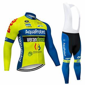 Men Cycling Sports Clothing Set Long Sleeve Bike Jersey Bib Pants Tights Kits