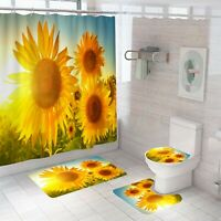 Sunflower Thick Bathroom Rug Shower Curtain Bath Mat Non-Slip Toilet Lid Cover